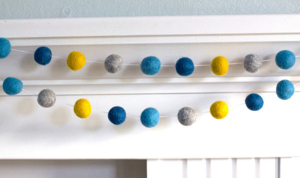 Felt Ball Garland- Blue, Gray & Golden- Pom Pom- Nursery- Holiday- Wedding- Party- Childrens Room