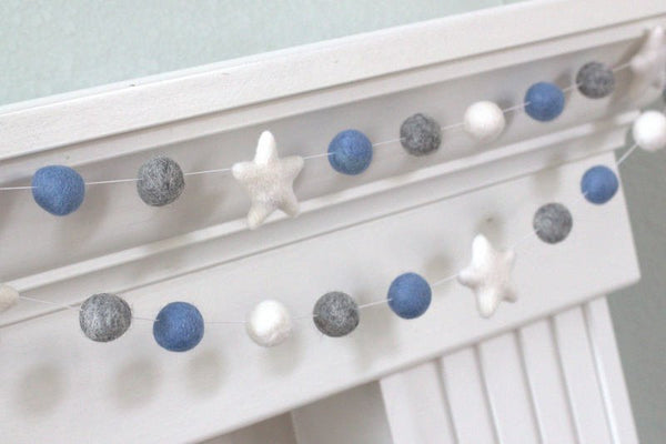 Baby Blue, Gray, White Felt Ball & Star Garland- Pom Pom- Nursery- Holiday- Wedding- Party- Childrens Room