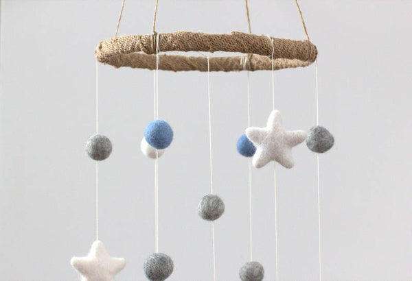 Baby Blue, Gray, White Felt Ball & Star Nursery Mobile- Baby Childrens Room Decor