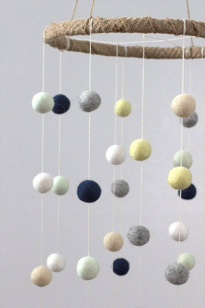 LARGE Navy, Butter, Seafoam, Tan, Gray, White Felt Ball Nursery Mobile- Nursery Childrens Room Pom Pom Mobile Garland Decor
