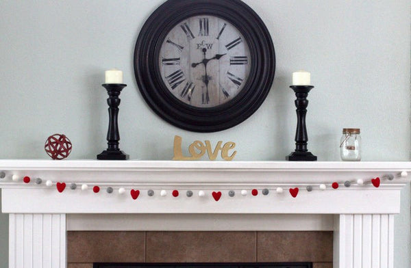 Red, Gray, White Felt Ball & Heart Garland - Valentines Holiday Party Nursery Childrens Room Decor