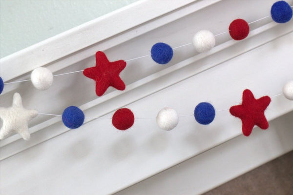 Patriotic USA Felt Garland- Red White Royal Blue Felt Ball & Stars- Pom Pom Holiday Party- Memorial Day- Fourth July