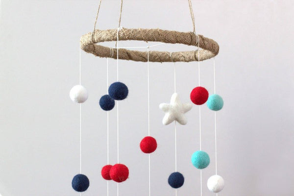Felt Ball & Star Nursery Mobile- Navy, Turquoise, Red, White