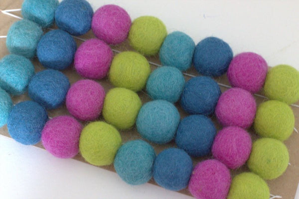 Peacock Felt Ball Garland- Blues, Green & Violet- Pom Pom- Nursery- Holiday- Wedding- Party- Childrens Room Playroom Decor