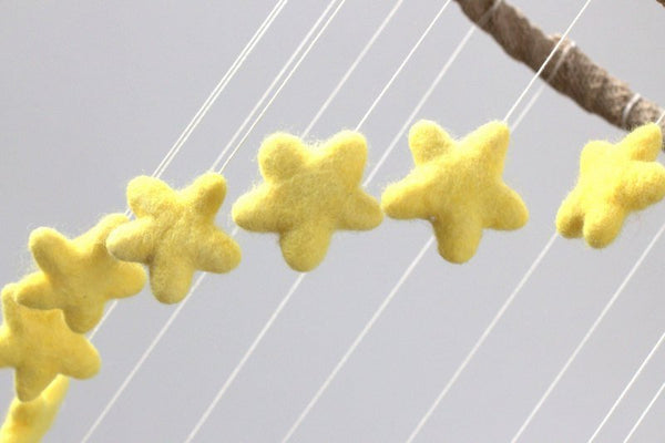 Yellow Spiral Felt Star Mobile- Neutral Nursery- Felt Ball Mobile