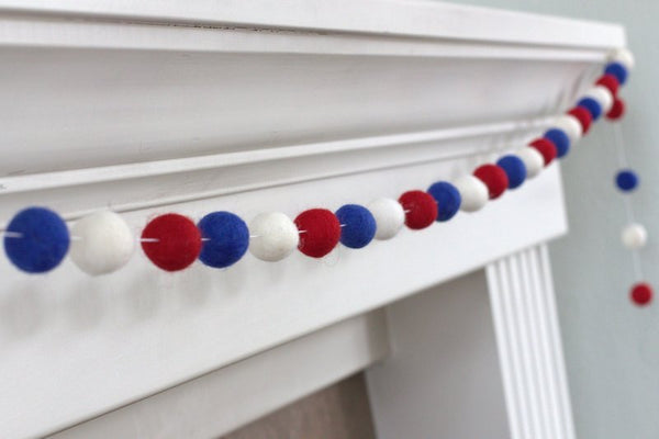 Fourth July Garland- Red, Royal Blue, White Felt Ball Pom Pom Garland- Holiday- Party - USA- Americana Decor
