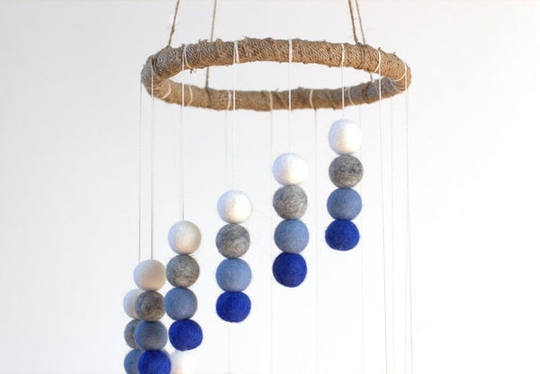 Spiral Felt Ball Mobile- Royal Blue, Baby Blue, Gray, White-  Nursery Childrens Room Pom Pom Mobile Garland Decor