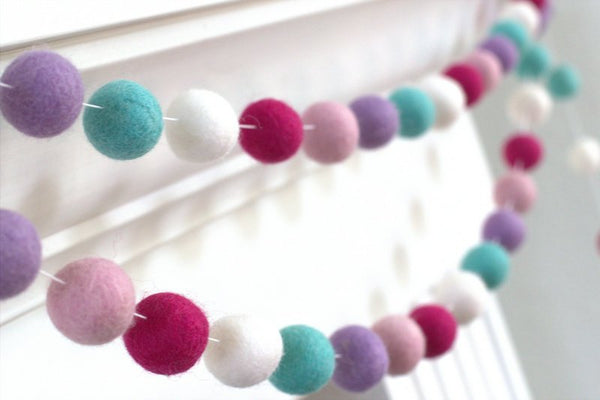 Felt Ball Garland- Pinks, Lavendre, Turquoise- Pom Pom- Nursery- Holiday- Wedding- Party- Childrens Room
