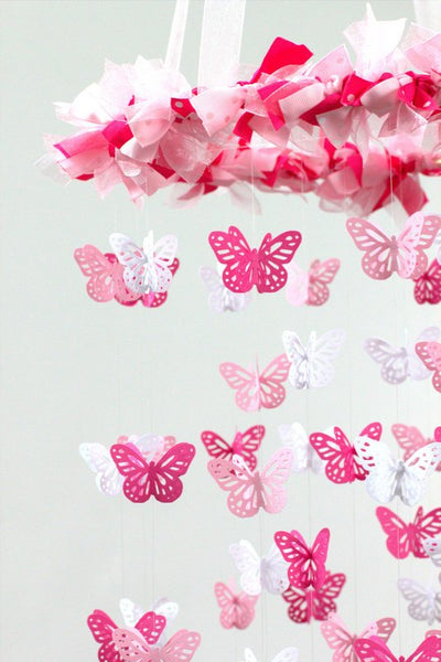 Baby Girl Nursery Decor- Pink Buttefly Mobile, Baby Shower Gift, Photographer Prop
