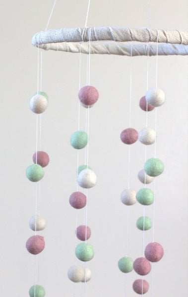 Felt Ball Pom Pom Nursery Mobile- Girl Room Nursery Decor- Pink, Seafoam & White- LARGE SIZE