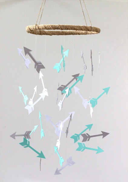 Arrow Nursery Mobile in Aqua, Gray & White- Rustic Burlap Hoop- LARGE SIZE