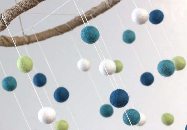 Blues & Greens Felt Ball Mobile- LARGE SIZE- Children's Room Playroom Decor- Nursery Baby