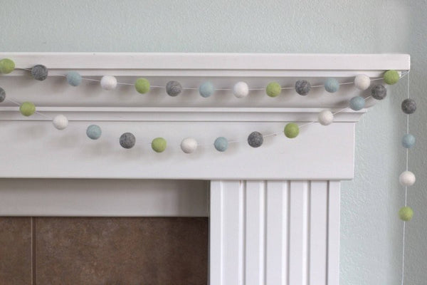 Ice, Pistachio, Gray & White  Felt Ball Garland-Spring Pastel Nursery Baby Boy Decor