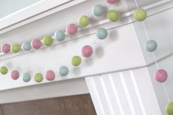 Blush, Ice, Pistachio Felt Ball Garland-Spring Pastel Nursery Baby Children Playroom Decor