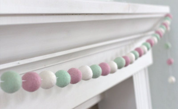 Baby Pink, Seafoam & White Felt Ball Garland - Spring Easter Pastel Party Nursery Childrens Room Decor