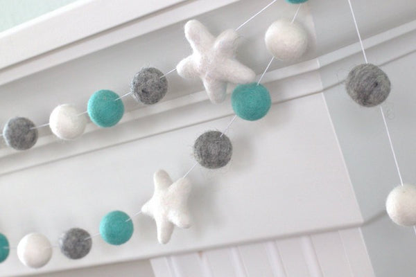Turquoise Gray White Felt Ball & Star Garland- Pom Pom- Nursery- Holiday- Wedding- Party- Childrens Room