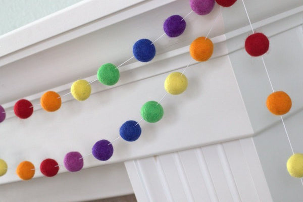 ROYGBIV Classic Rainbow Felt Ball Garland- Nursery Decor Felt Pompom Garland Wall Hanging- Children's Room