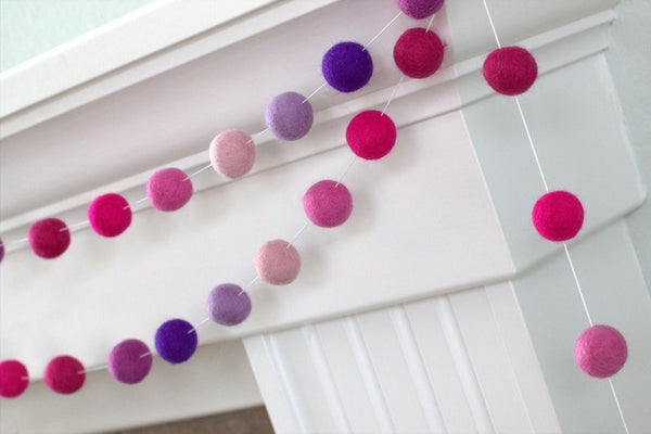 Alivia's Pink & Purple Felt Ball Garland- Pom Pom- Nursery- Birthday- Party- Childrens Room Playroom