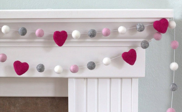 Felt Ball Garland- Hot Pink, Light Pink, Gray & White Hearts and Balls- Pom Pom- Nursery- Holiday- Wedding- Party- Childrens Room