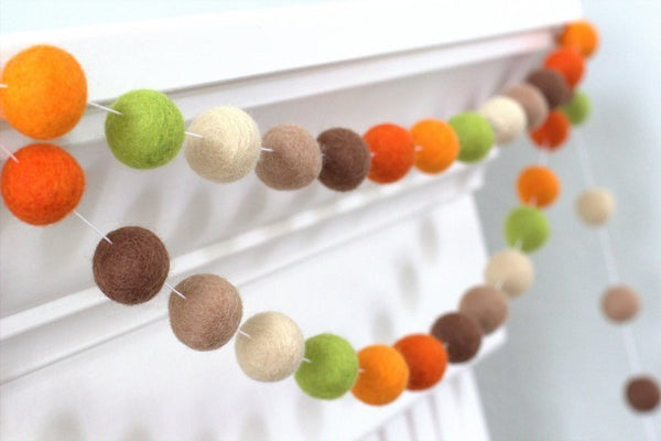 Autumn Felt Ball Garland- Brown Orange Green Fall Thanksgiving Halloween- Pom Pom