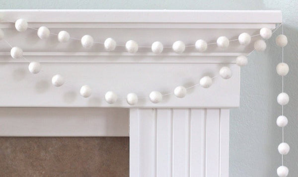 White Felt Ball Garland- Pom Pom- Nursery- Holiday- Wedding- Party- Childrens Room
