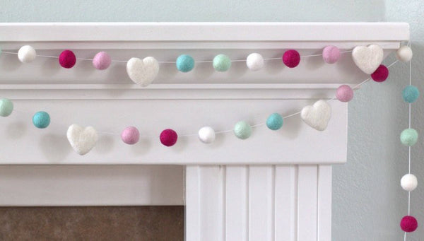 Pink Turquoise Felt Ball Garland- Felt Hearts & Balls- Pom Pom- Nursery- Holiday- Wedding- Party- Childrens Room