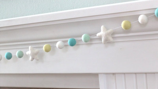 Felt Ball & Star Garland- Turquoise Yellow Gray White- Pom Pom- Nursery- Holiday- Wedding- Party- Childrens Room