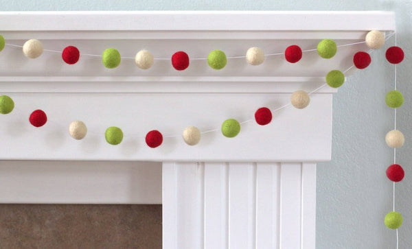 Christmas Garland Felt Ball Garland- Christmas Holiday Decor in Red, Green & Almond Cream