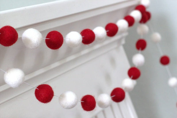 Red & White Felt Ball Garland- Christmas, Valentines Holiday Party Decor
