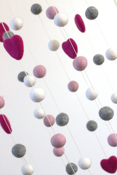 LARGE Pink, Gray, White Felt Ball & Heart Nursery Mobile- Nursery Childrens Room Pom Pom Mobile Garland Decor
