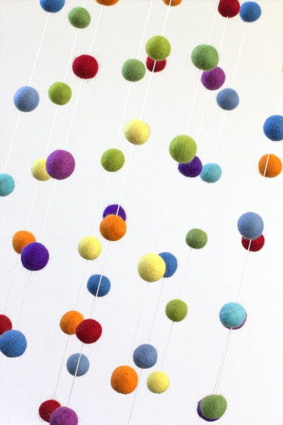 Rainbow Felt Ball Nursery Mobile- LARGE SIZE - Nursery Childrens Room Pom Pom Mobile Garland Decor