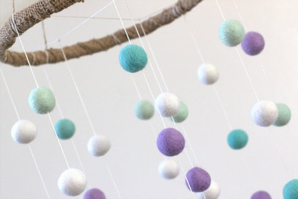 Lavender & Turquoise Felt Ball Nursery Mobile- LARGE SIZE - Nursery Childrens Room Pom Pom Mobile Garland Decor