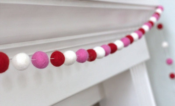 Red, Rose & White Felt Ball Garland - Valentines Holiday Party Nursery Childrens Room Decor