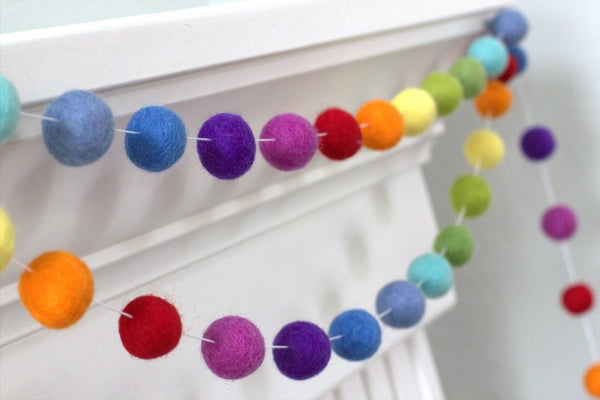 Rainbow Felt Ball Garland- Nursery Decor Felt Pompom Garland Wall Hanging- Children's Room