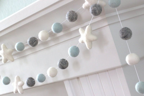 Ice Blue, Gray, White Felt Ball & Star Garland- Pom Pom- Nursery- Holiday- Wedding- Party- Childrens Room
