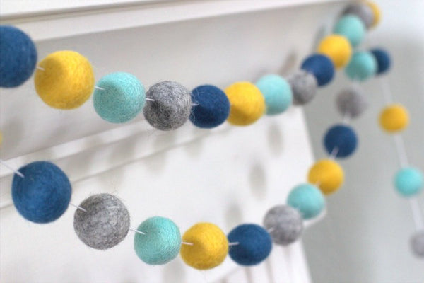 Turquoise, Peacock, Gray & Golden Felt Ball Garland- Pom Pom- Nursery- Holiday- Wedding- Party- Childrens Room