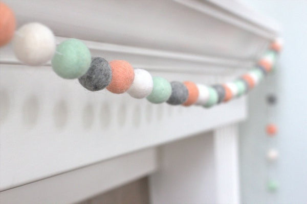 Felt Ball Garland- Peach, Seafoam, Gray & White- Pom Pom- Nursery- Valentines- Holiday- Wedding- Party- Childrens Room