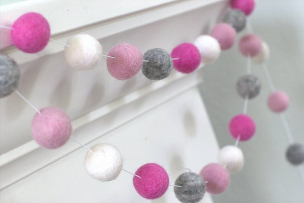 Felt Ball Garland- Baby Pink, Rose, Gray & White- Pom Pom- Nursery- Valentines- Holiday- Wedding- Party- Childrens Room