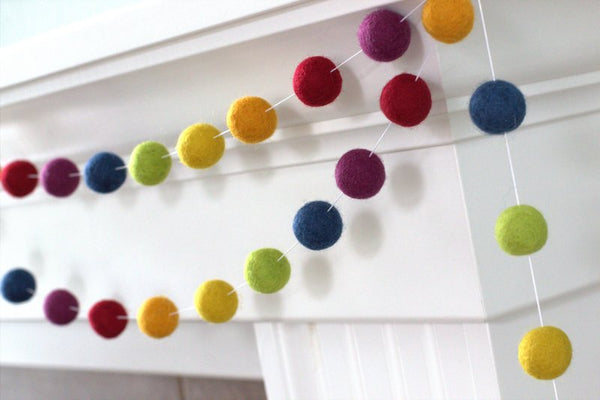 Vintage Rainbow Felt Ball Garland- Nursery Decor Felt Pompom Garland Wall Hanging- Children's Room