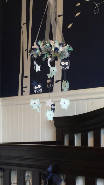 Rustic Burlap Nautical Nursery Mobile in Navy, Aqua & White-Baby Mobile, Baby Shower Gift