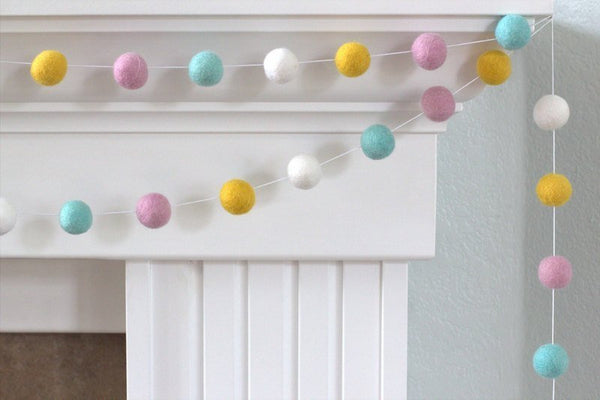 Felt Ball Garland- Turquoise, Blush, White & Golden- Pom Pom- Nursery- Holiday- Wedding- Party- Childrens Room