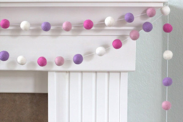 Felt Ball Garland- Baby Pink, Rose, Lavender & White- Pom Pom- Nursery- Valentines- Holiday- Wedding- Party- Childrens Room