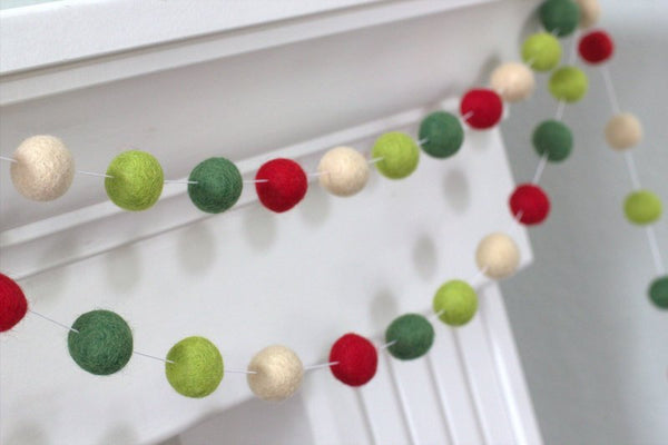 Christmas Garland- Red, Lime, Forest Green, Almond Felt Balls- Christmas Holiday Decor