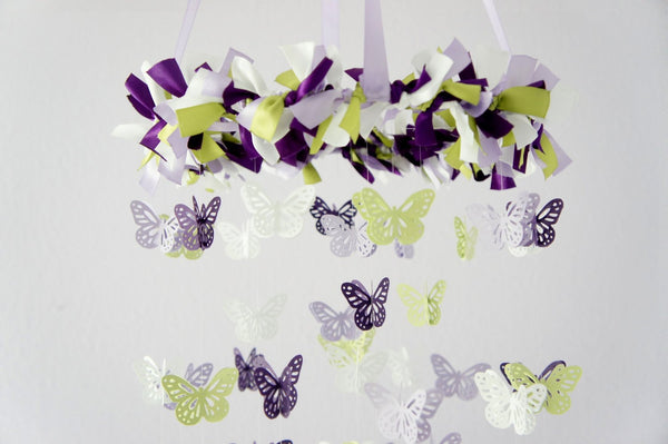 Purple Nursery Decor- Butterfly Mobile, Photography Prop, Baby Shower Gift