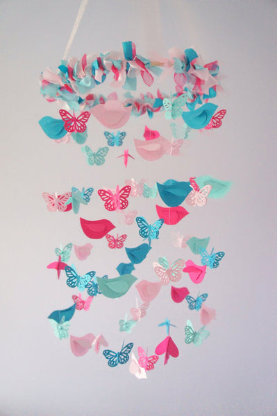 Turquoise Nursery Decor- Birds & Butterflies Nursery Mobile in Pink, Hot Pink, Aqua, Turquoise for Baby Girl Nursery Room Decor