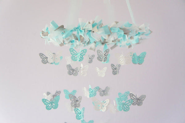 Nursery Decoration- Butterfly Mobile in Aqua, Gray & White- Photography Prop,  Baby Shower Gift