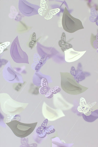 Lavender Butterflies Mobile & Birds- Lavender, Gray, White Birds Butterflies Mobile for Baby Girl Nursery Room Decor