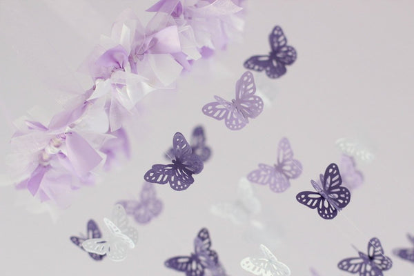 Butterfly Mobile in Lavender, Purple & White SMALL SIZE- Baby Nursery Mobile, Baby Shower Gift, Nursery Decor, Photography Prop