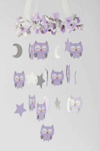 Owl Nursery Mobile in Lavender, White & Gray- Baby Mobile, Baby Shower Gift