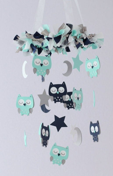 OWL Nursery Mobile in Aqua, Navy, Gray & White- Baby Mobile,  Baby Shower Gift